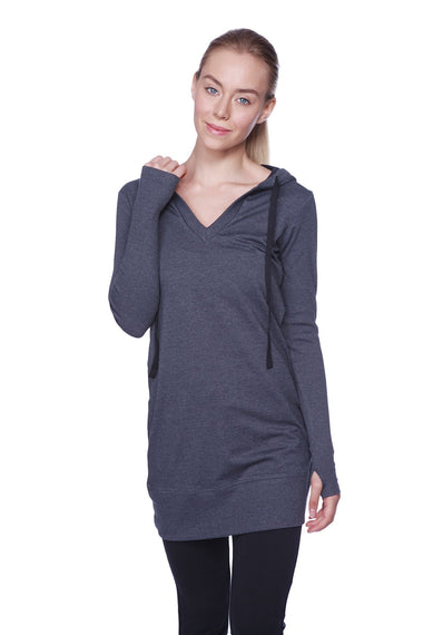 Women's Long Body Hoodie Top (Charcoal w/Black) Womens Hoodie Tops 4-rth