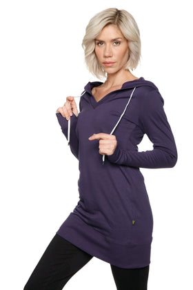 Women's Long Body Hoodie Top (Eggplant/Purple) Womens Hoodie Tops 4-rth