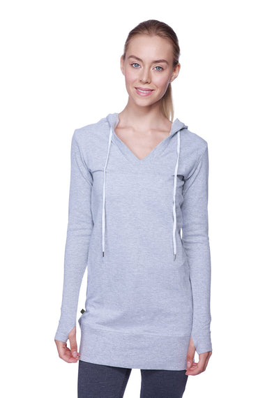 Women's Long Body Hoodie Top (Heather Grey w/Charcoal) Womens Hoodie Tops 4-rth