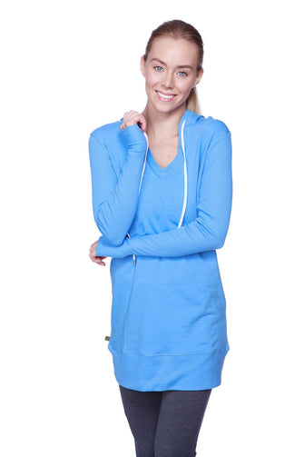 Women's Long Body Hoodie Top (Ice Blue w/Royal Blue) Womens Hoodie Tops 4-rth
