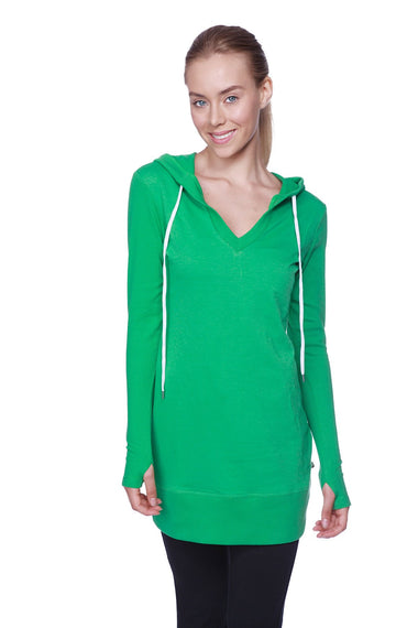 Women's Long Body Hoodie Top (Solid Bamboo Green) Womens Hoodie Tops 4-rth