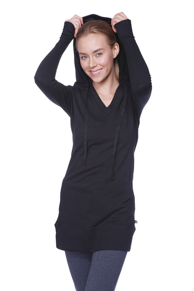Women's Long Body Hoodie Top (Solid Black) Womens Hoodie Tops 4-rth