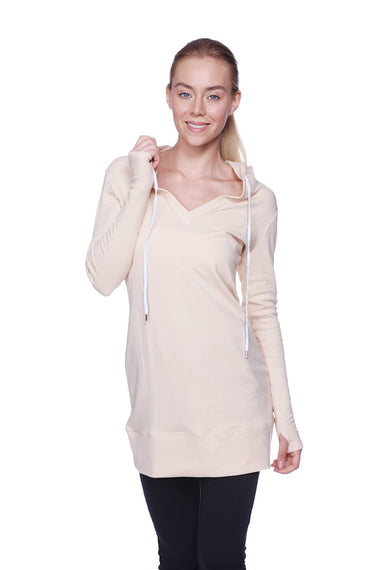 Women's Long Body Hoodie Top (Solid Sand Camel Beige) Womens Hoodie Tops 4-rth