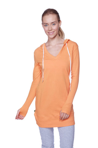 Women's Long Body Hoodie Top (Solid Sun Orange) Womens Hoodie Tops 4-rth