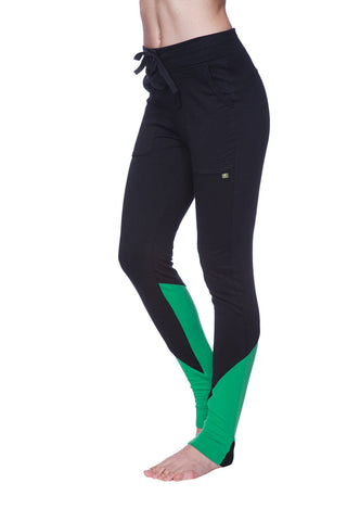 "Women's Straight-Leg ""LONG"" Performance Yoga Pant Womens Pants 4-rth Extra Small Black w/ Bamboo Green"