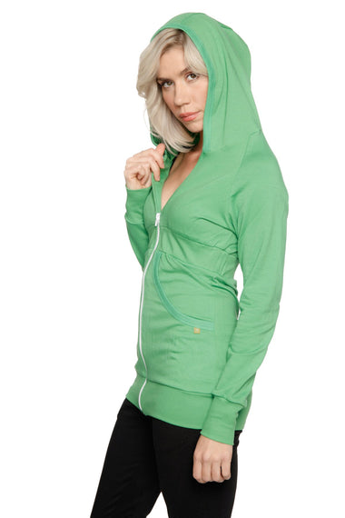 Zip-up Long Body Travel Hoodie (Bamboo Green) Womens Hoodie Tops 4-rth