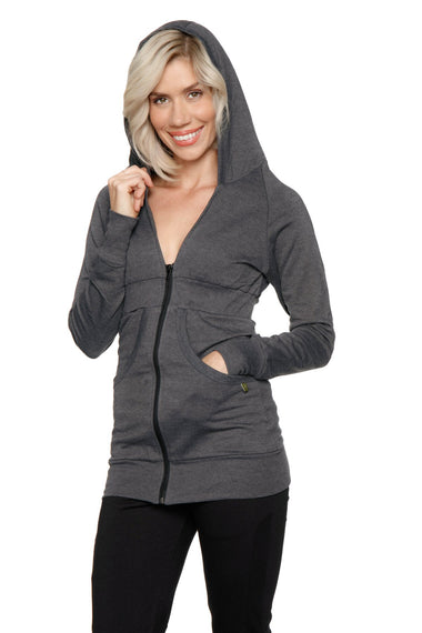 Zip-up Long Body Travel Hoodie Jacket (Charcoal) Womens Hoodie Tops 4-rth