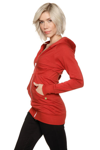 Zip-up Long Body Travel Hoodie Jacket (Cinnabar Red) Womens Hoodie Tops 4-rth