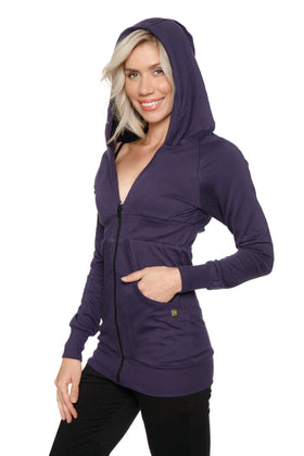 Zip-up Long Body Travel Hoodie Jacket (Eggplant Purple) Womens Hoodie Tops 4-rth