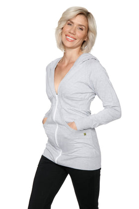 Zip-up Long Body Travel Hoodie Jacket (Heather Grey) Womens Hoodie Tops 4-rth