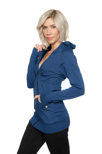 Zip-up Long Body Travel Hoodie Jacket (Royal Blue) Womens Hoodie Tops 4-rth