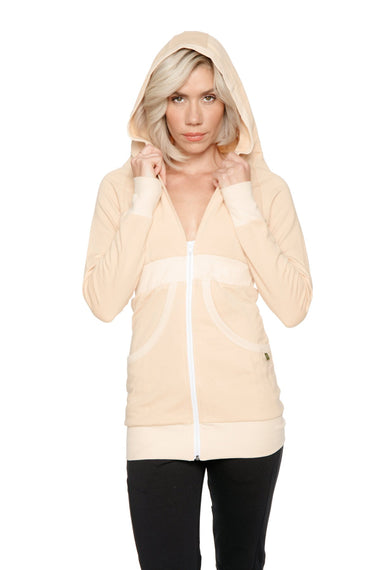 Zip-up Long Body Travel Hoodie Jacket (Sand Beige) Womens Hoodie Tops 4-rth