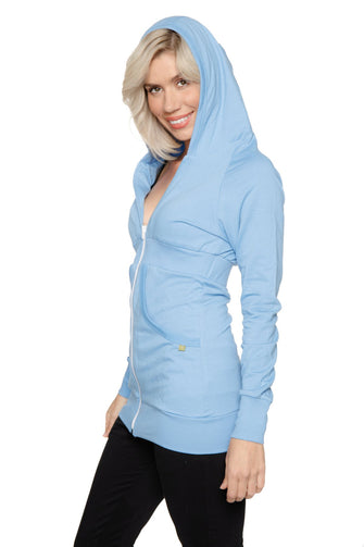 Zip-up Long Body Travel Hoodie Jacket (Sky Baby Blue) Womens Hoodie Tops 4-rth