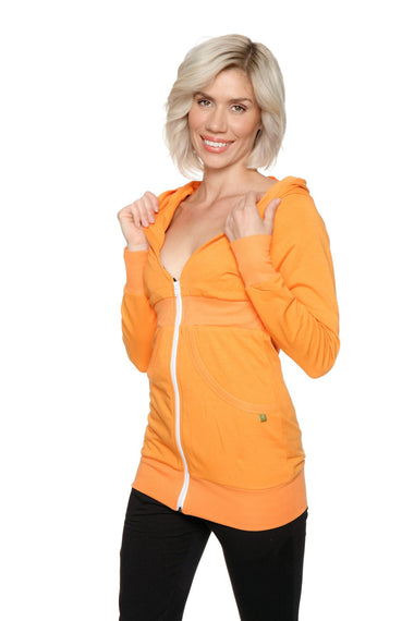 Zip-up Long Body Travel Hoodie Jacket (Sun Orange) Womens Hoodie Tops 4-rth