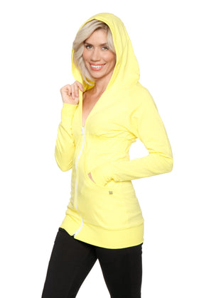 Zip-up Long Body Travel Hoodie Jacket (Tropic Yellow) Womens Hoodie Tops 4-rth