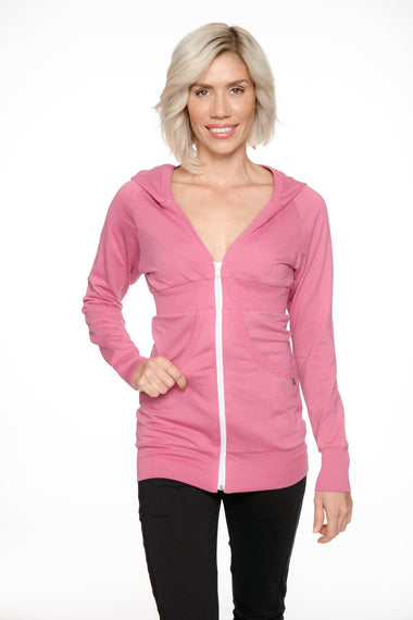 Zip-up Long Body Travel-ready Hoodie (Berry Pink) Womens Hoodie Tops 4-rth