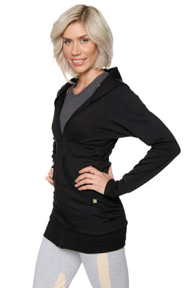 Zip-up Long Body Travel-ready Hoodie (Black) Womens Hoodie Tops 4-rth