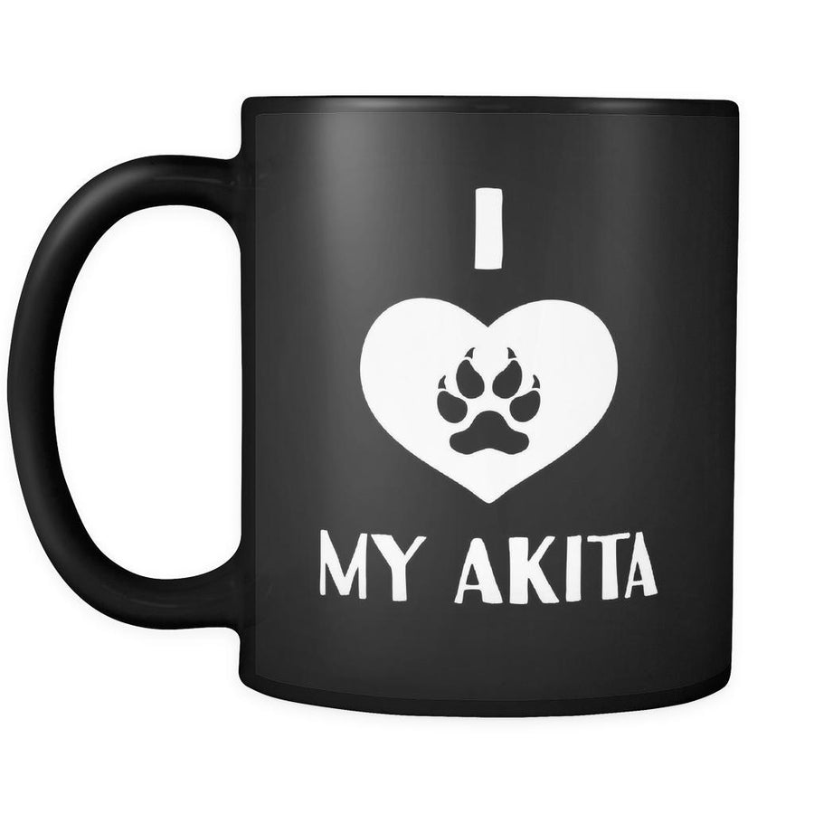 Akita I Love My Akita 11oz Black Mug-Drinkware-Teelime | shirts-hoodies-mugs