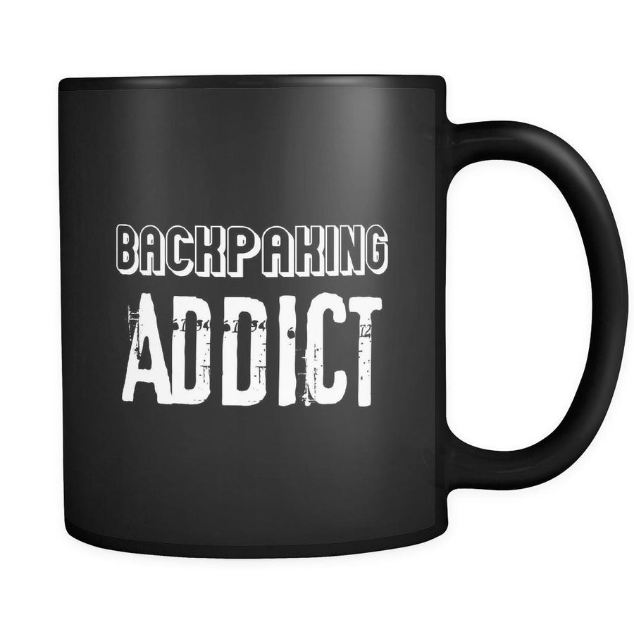Backpacking Backpacking Addict 11oz Black Mug-Drinkware-Teelime | shirts-hoodies-mugs