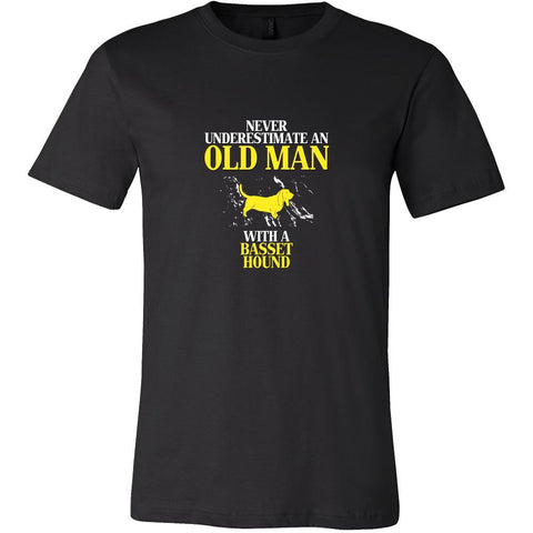 Basset hound Shirt - Never underestimate an old man with a Basset hound Grandfather Dog Gift-T-shirt-Teelime | shirts-hoodies-mugs