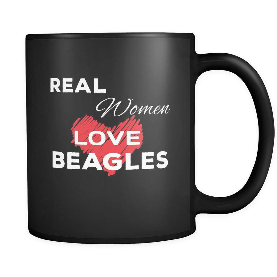 Beagle Real Women Love Beagles 11oz Black Mug-Drinkware-Teelime | shirts-hoodies-mugs