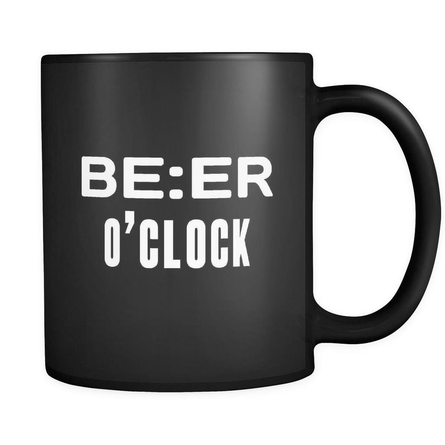 Beer Beer O'clock 11oz Black Mug-Drinkware-Teelime | shirts-hoodies-mugs