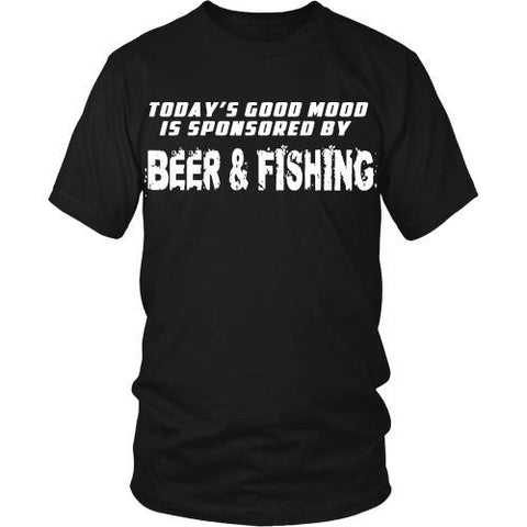 Beer & Fishing T Shirt - Good mood is sponsored by Beer & Fishing-T-shirt-Teelime | shirts-hoodies-mugs