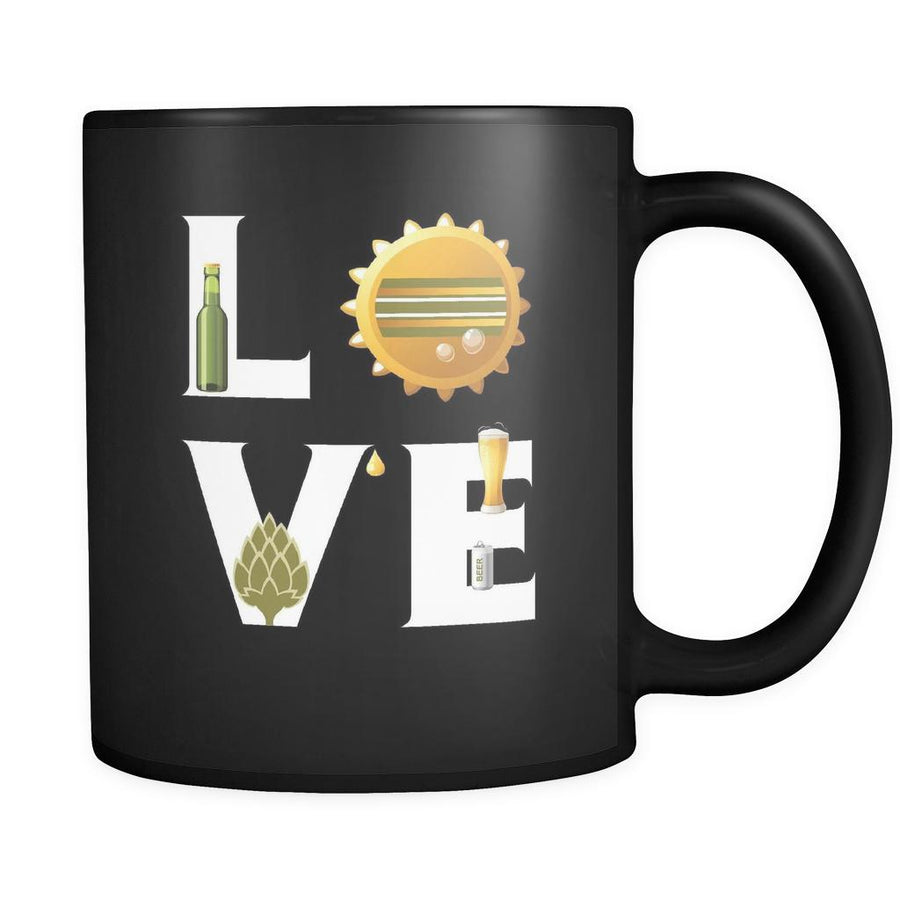 Beer - LOVE Beer - 11oz Black Mug-Drinkware-Teelime | shirts-hoodies-mugs