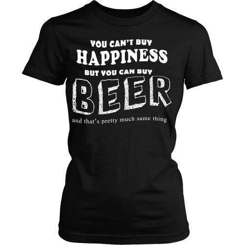 Beer T Shirt - Money can't buy happiness but can buy you a beer-T-shirt-Teelime | shirts-hoodies-mugs