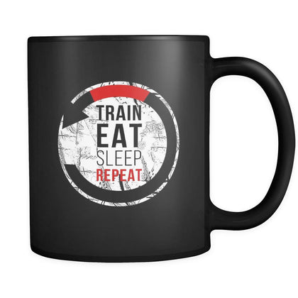 BJJ Train eat sleep repeat 11oz Black Mug-Drinkware-Teelime | shirts-hoodies-mugs