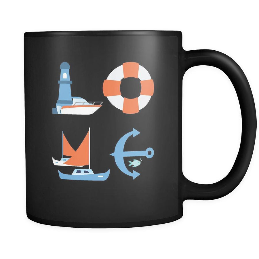 Boating / Sailing - LOVE Boating / Sailing - 11oz Black Mug-Drinkware-Teelime | shirts-hoodies-mugs