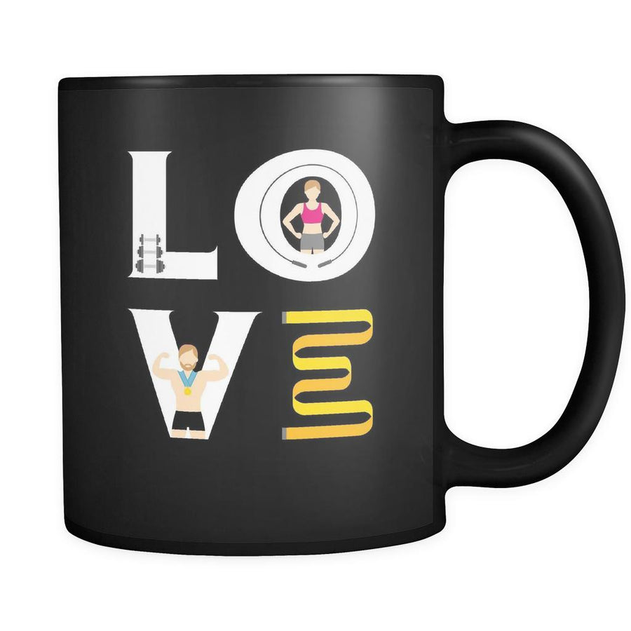 Bodybuilder / Personal Trainer - LOVE Bodybuilder / Personal Trainer - 11oz Black Mug-Drinkware-Teelime | shirts-hoodies-mugs