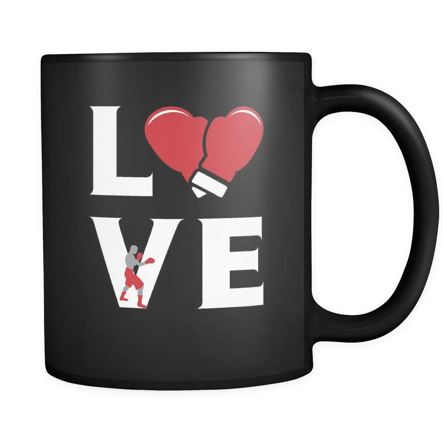 Boxing - LOVE Boxing - 11oz Black Mug-Drinkware-Teelime | shirts-hoodies-mugs