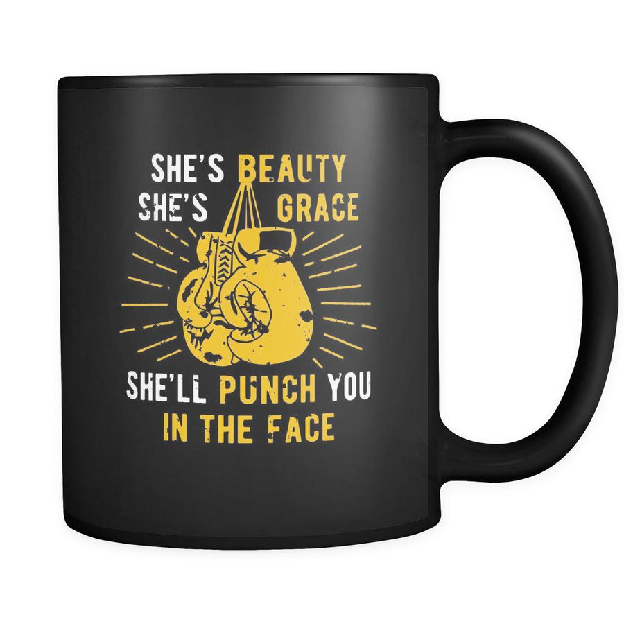 Boxing She's beauty she's grace she'll punch you in the face 11oz Black Mug-Drinkware-Teelime | shirts-hoodies-mugs