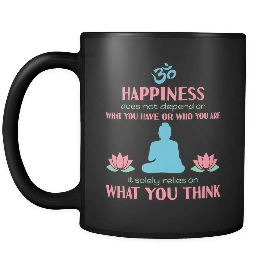 Buddhism Happiness 11oz Black Mug-Drinkware-Teelime | shirts-hoodies-mugs