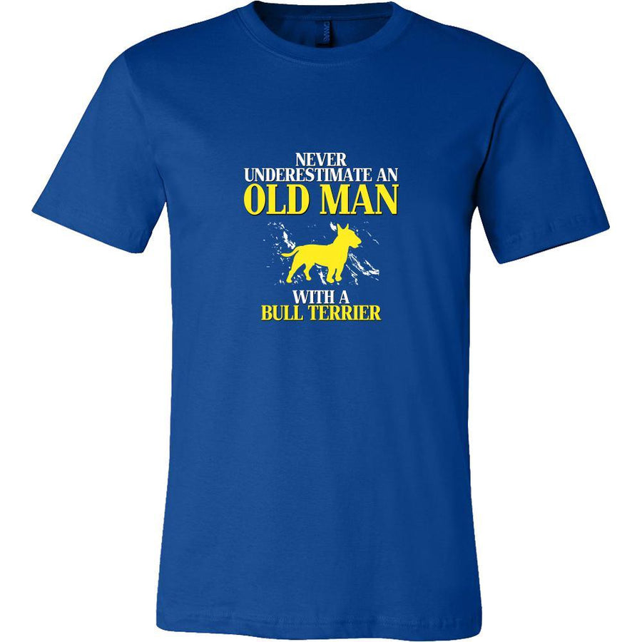 Bull terrier- Never underestimate an old man with a Bull terrier- Father's Day Dog Shirt-T-shirt-Teelime | shirts-hoodies-mugs