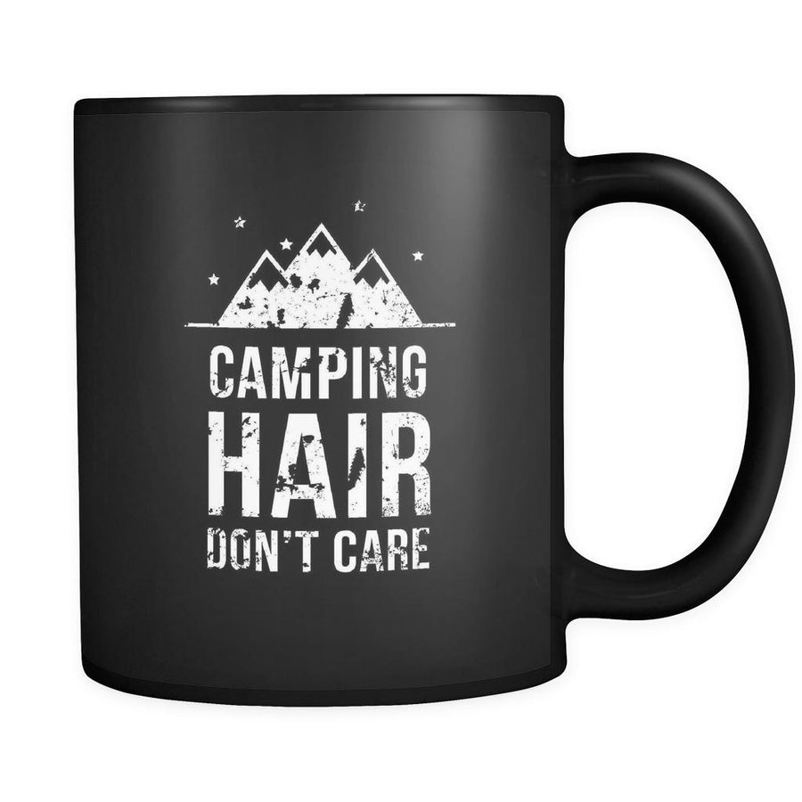 Camping Camping hair don't care 11oz Black Mug