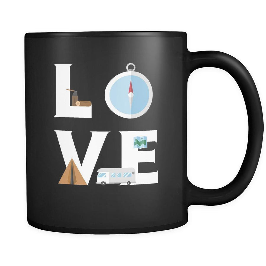Camping - LOVE Camping  - 11oz Black Mug