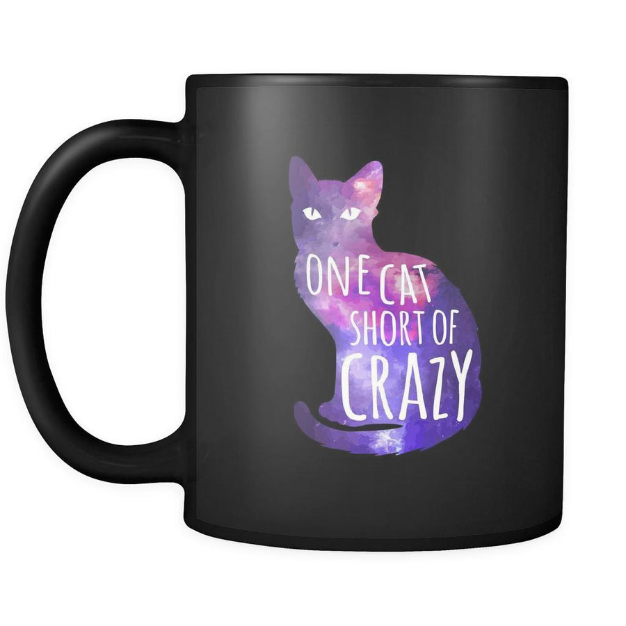 Cats gifts cats mugs One cat short of crazy mug - cats cup cats cups cats funny (11oz) Black-Drinkware-Teelime | shirts-hoodies-mugs