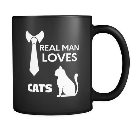 Cats Real Man Loves Cats 11oz Black Mug-Drinkware-Teelime | shirts-hoodies-mugs