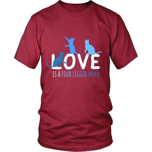 Cats T Shirt - Love is a four legged word