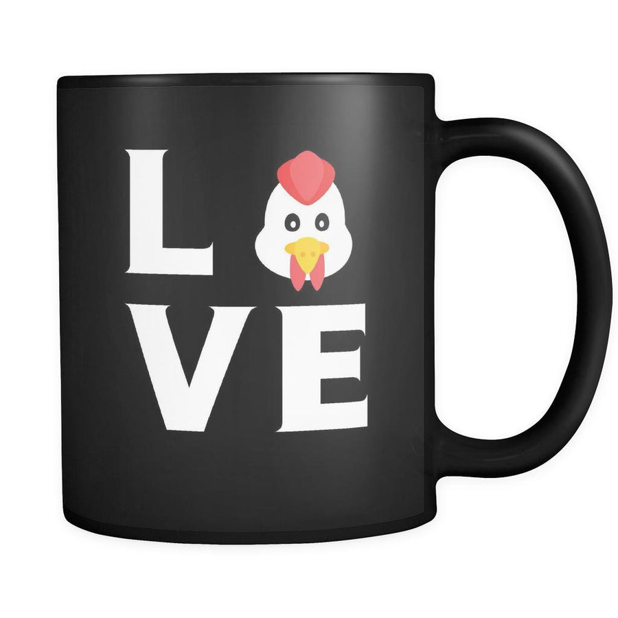 Chicken - LOVE Chicken - 11oz Black Mug-Drinkware-Teelime | shirts-hoodies-mugs