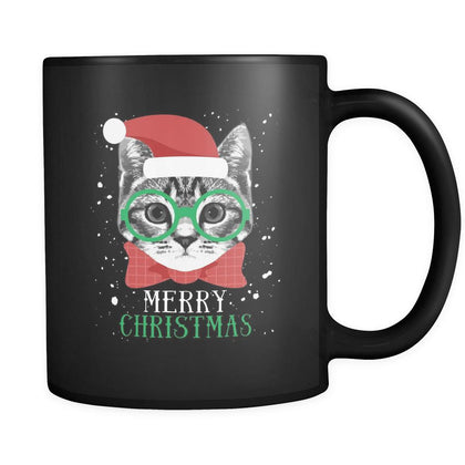 Christmas Merry Christmas Cat 11oz Black Mug-Drinkware-Teelime | shirts-hoodies-mugs