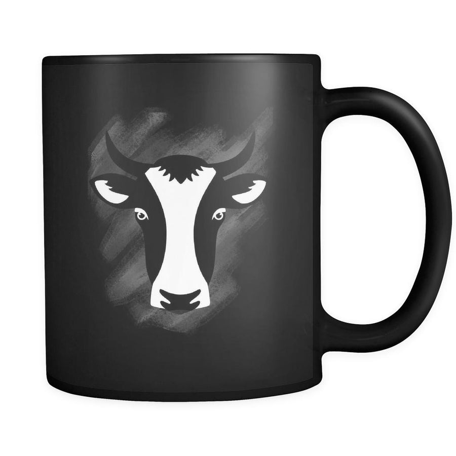 Cow Animal Illustration 11oz Black Mug-Drinkware-Teelime | shirts-hoodies-mugs