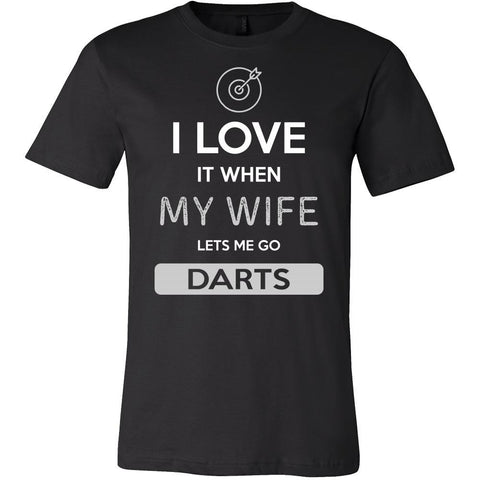 Darts Shirt - I love it when my wife lets me go Darts - Hobby Gift-T-shirt-Teelime | shirts-hoodies-mugs