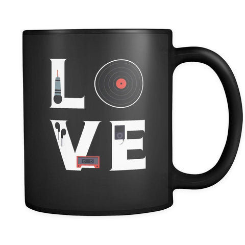 DJ / Singer / Beatboxing - LOVE DJ / Singer / Beatboxing - 11oz Black Mug-Drinkware-Teelime | shirts-hoodies-mugs