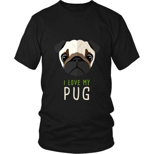 Dogs T Shirt - I love my Pug-T-shirt-Teelime | shirts-hoodies-mugs