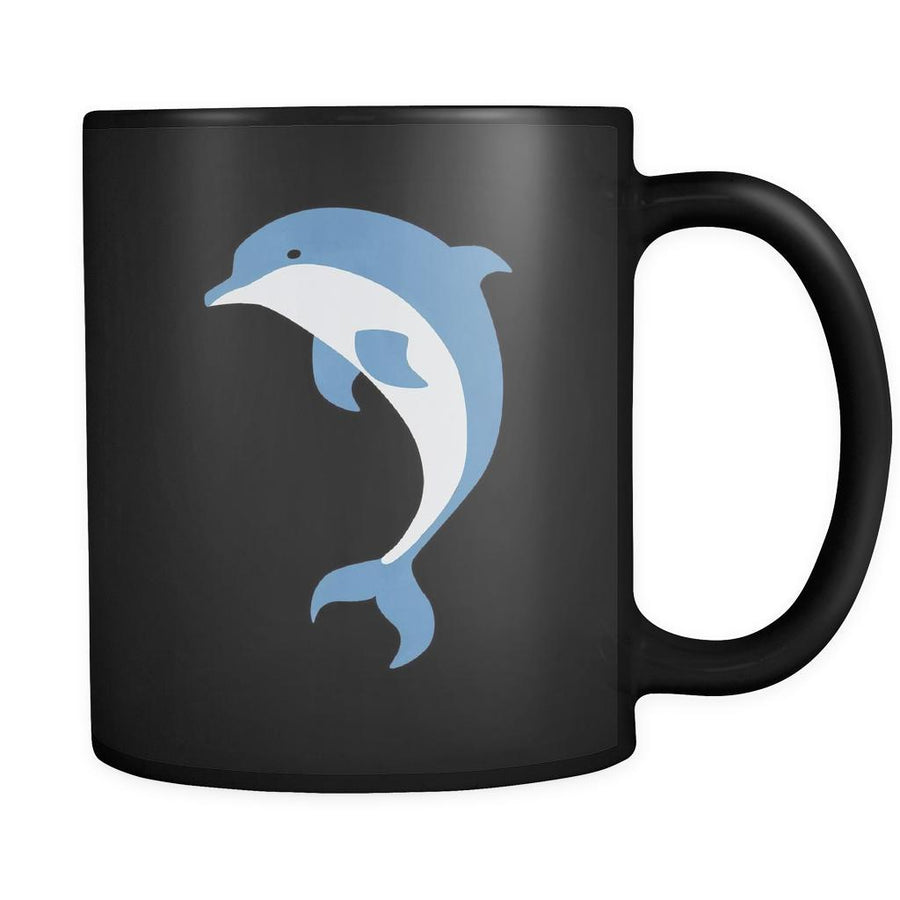 Dolphin Animal Illustration 11oz Black Mug-Drinkware-Teelime | shirts-hoodies-mugs