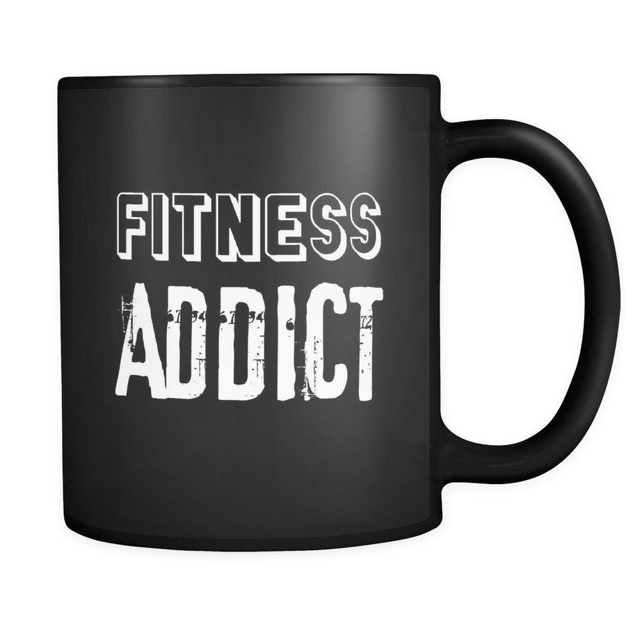Fitness Fitness Addict 11oz Black Mug-Drinkware-Teelime | shirts-hoodies-mugs