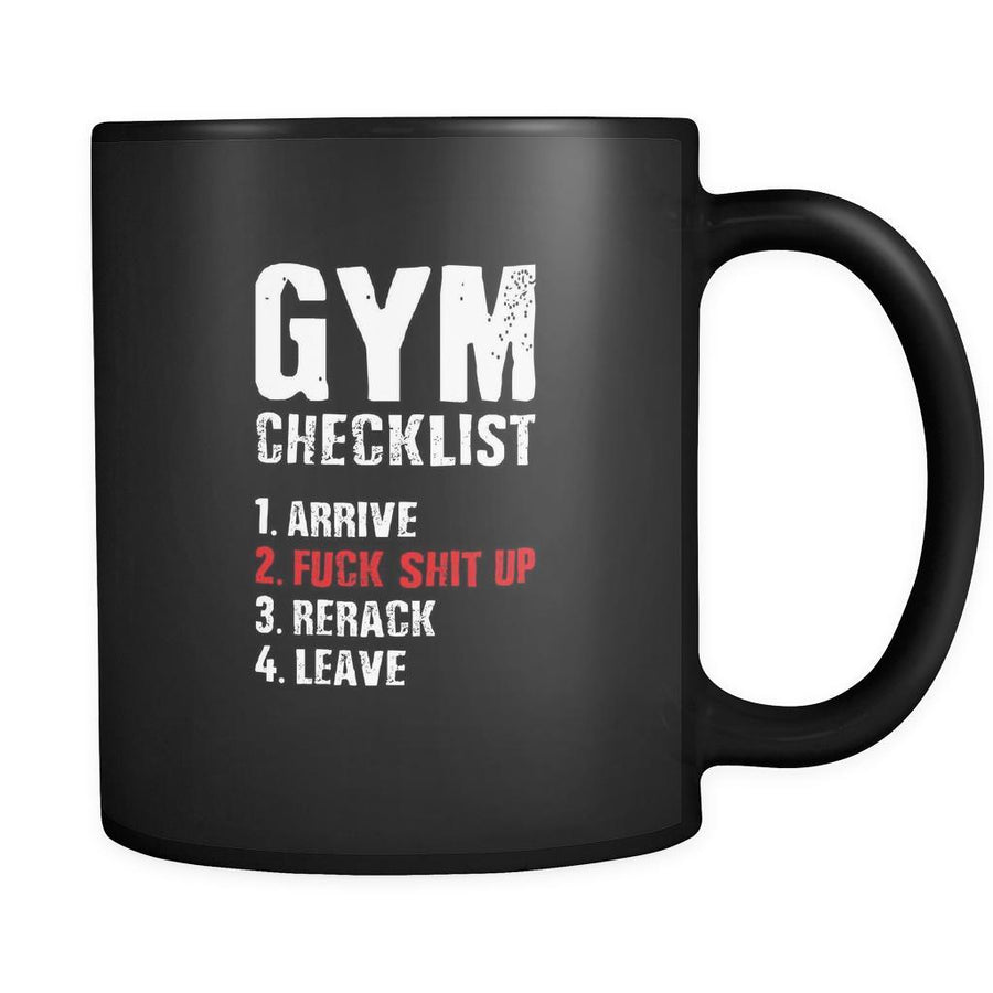 Fitness Gym checklist 11oz Black Mug-Drinkware-Teelime | shirts-hoodies-mugs